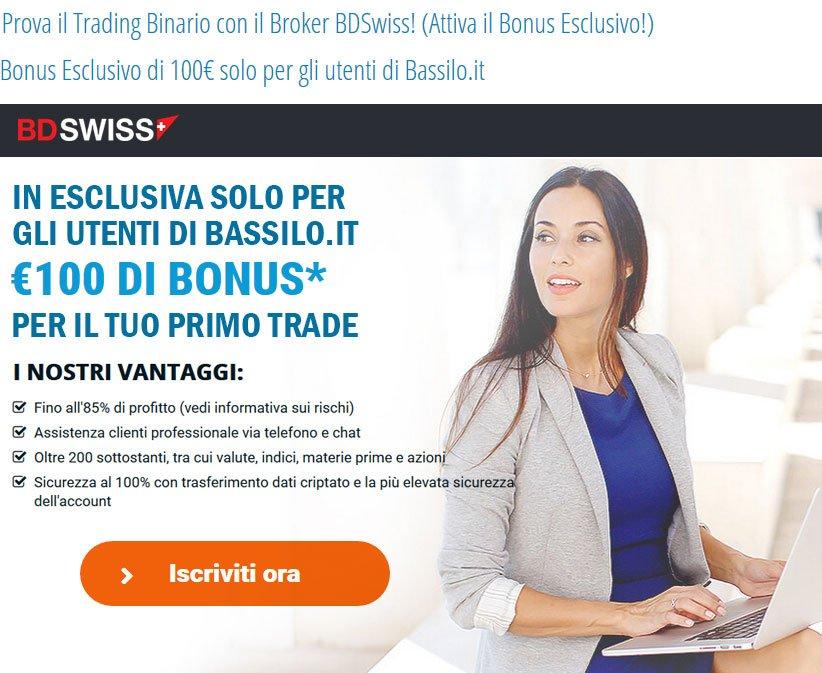 Bonus Esclusivo 100€ BDSwiss