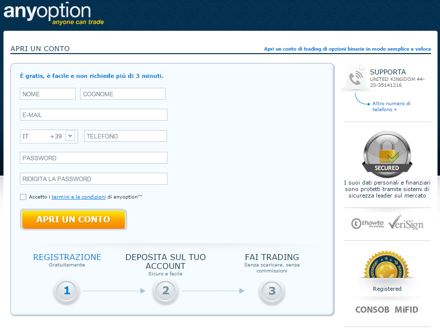 AnyOption broker apertura conto