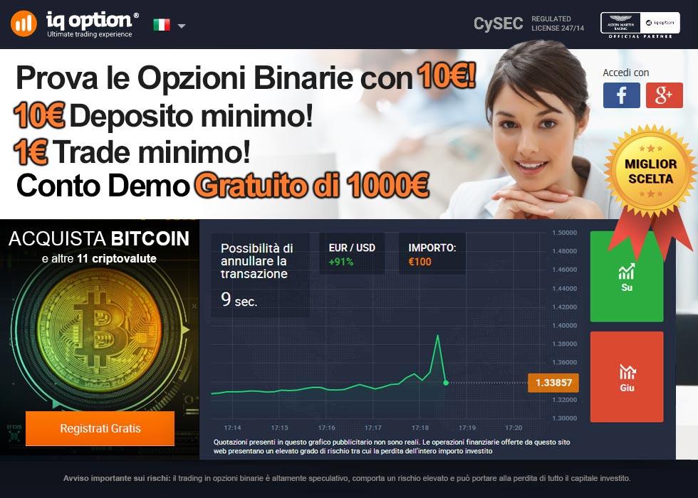 Prova le Opzioni binarie con soli 10€!