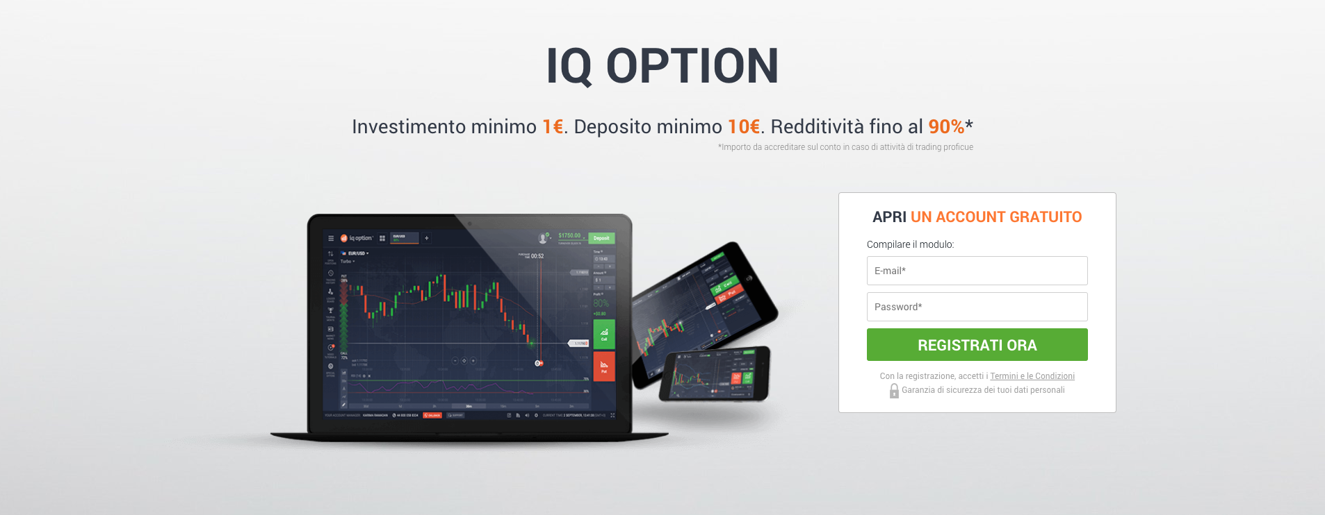 Guida Trading Bitcoin con iQ option: Registrati ora
