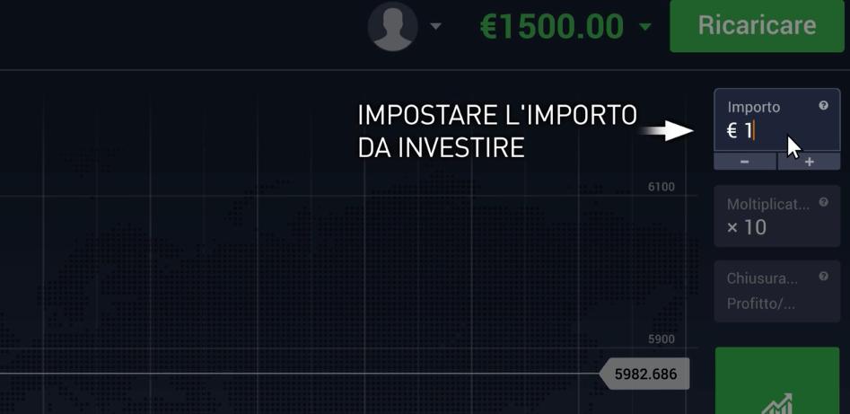 Inseriamo l'importo da investire