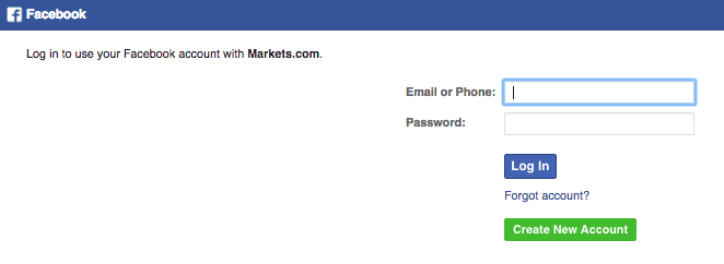 Registrati su Markets con Facebook