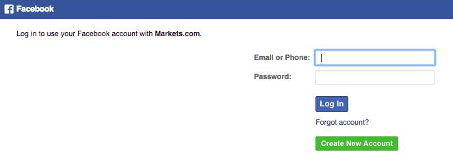 Registrati su Markets con Facebook