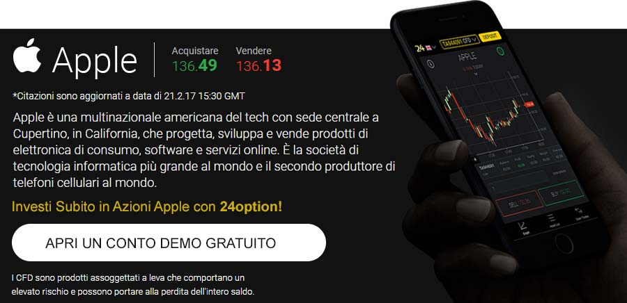 Investi in azioni Apple con 24option