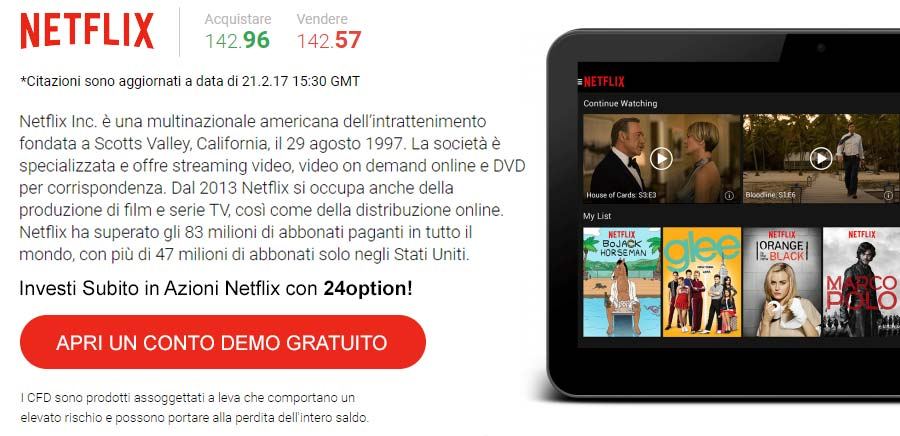 Investi in Azioni Netflix con 24option