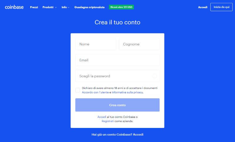 coinbase creare account