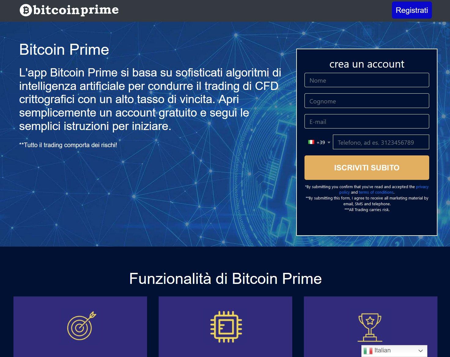 Bitcoinprime.io Home page